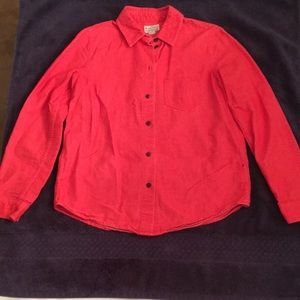 Madewell Red Long Sleeve Button Down Flannel Shirt